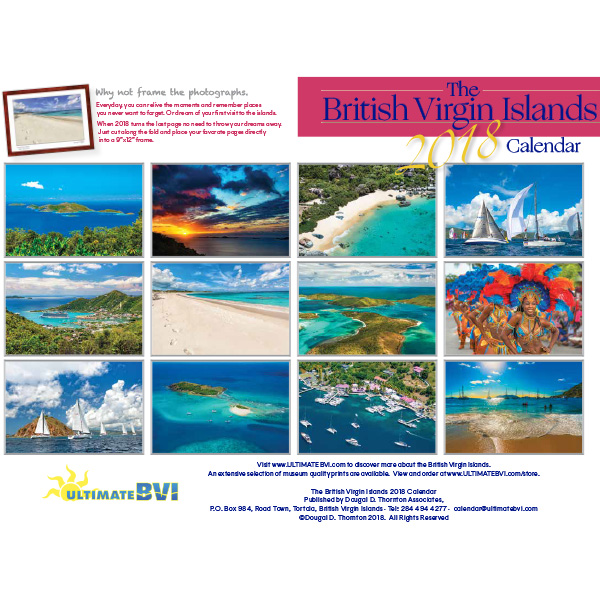 The 2018 British Virgin Islands Calendar Back Cover