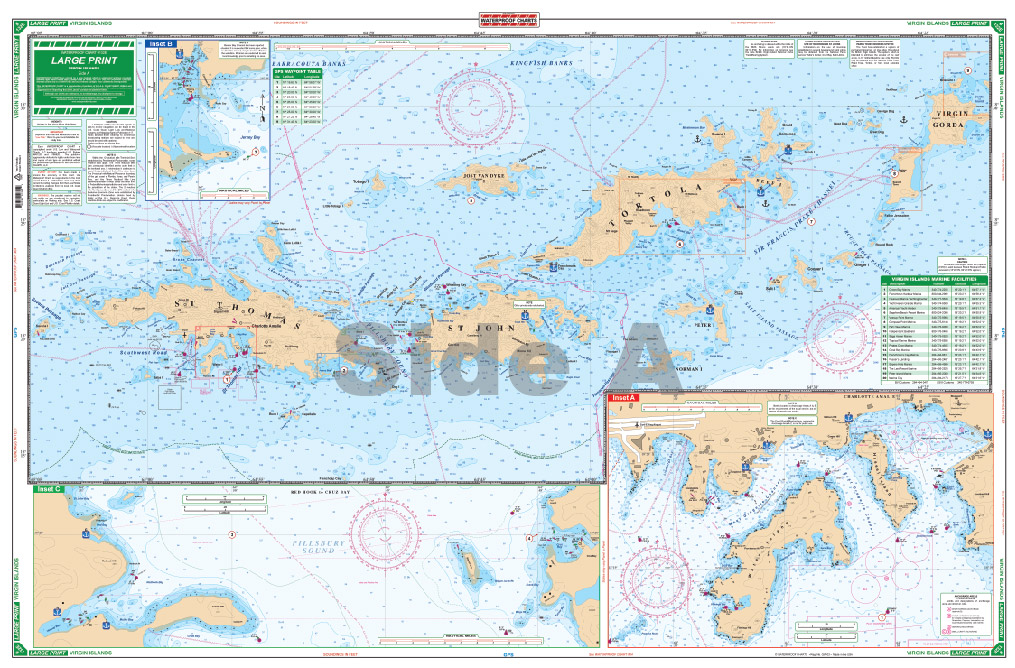 large print waterproof navigation charts us british virgin islands side a