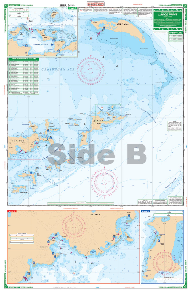 Large print waterproof navigation charts us british virgin large print waterproof navigation charts us british virgin islands side publicscrutiny Gallery